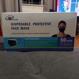 50 Pcs. Disposable Face Mask Three Layer New Black